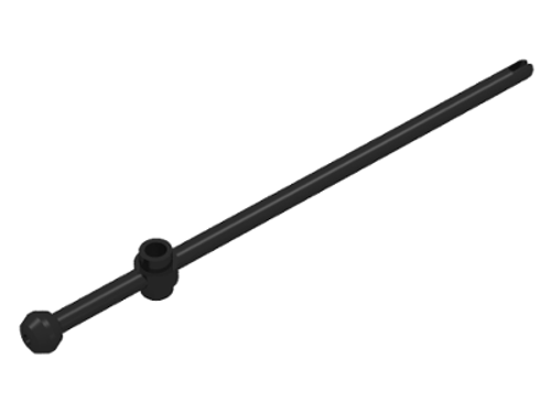 Bar 12L with Open Stud, Towball, and Slit (Boat Mast) (Black)