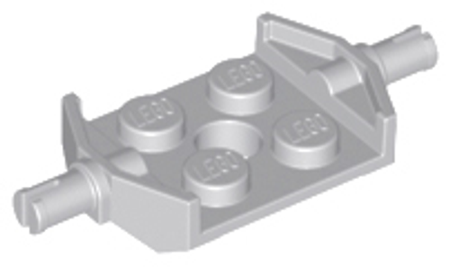 Plate, Modified 2x2 with Wheels Holder Wide and Hole (Light Bluish Gray)