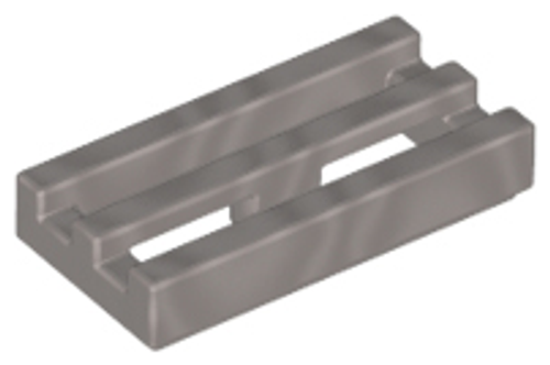 Tile, Modified 1x2 Grill with Bottom Groove (Flat Silver)