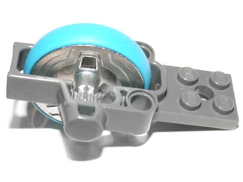 Flywheel Plate 2 x 8 with Metal Flywheel and Dark Azure Tyre (Dark Bluish Gray)