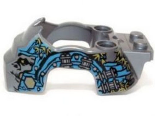 Flywheel Fairing Gorilla Shape with Dark Azure and Silver Markings and Leaves Pattern  (Flat Silver)