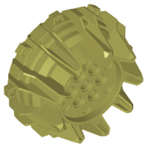 Wheel Hard Plastic with Small Cleats and Flanges (Olive Green)