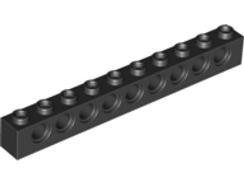 Technic, Brick 1x10 with Holes (Black)