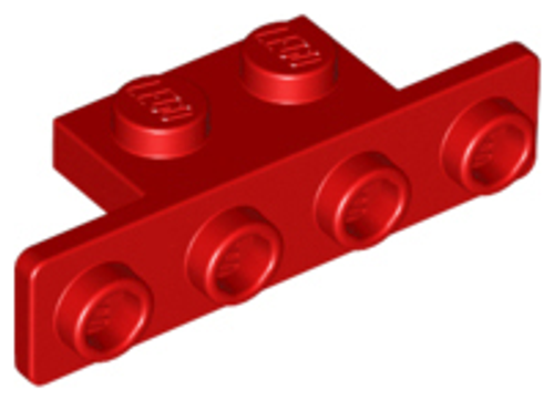 Bracket 1x2 - 1x4 with Rounded Corners (Red)