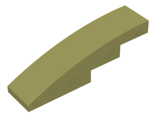 Slope, Curved 4x1 No Studs (Olive Green)