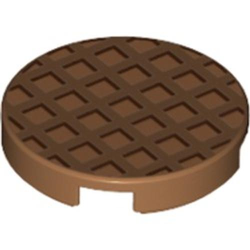 Tile, Round 2x2 with Bottom Stud Holder with Waffle Pattern (Medium Dark Flesh)