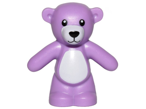 Teddy Bear with Black Eyes, Nose and Mouth and White Stomach (Medium Lavender)