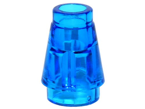 Cone 1x1 with Top Groove (Trans-Dark Blue)
