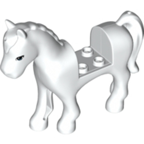 Horse with 2x2 Cutout, Blue Eyes Pattern (White)