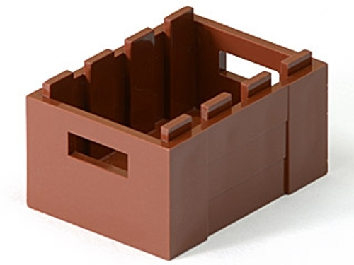 Container, Crate 3x4 x1 2/3 with Handholds (Reddish Brown)