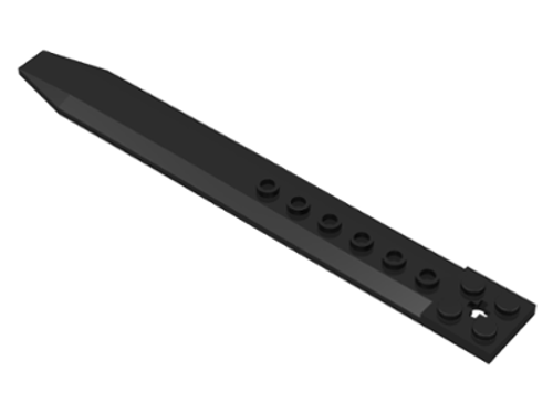 Plate, Modified 2x16 with Angled Side Extensions and Axle Hole (Black)