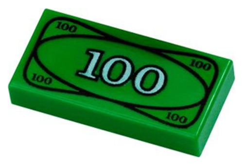 Tile 1x2 with Groove with 100 Dollar Bill Cash Money Pattern (Green)