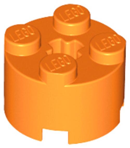 Brick, Round 2x2 with Axle Hole (Orange)