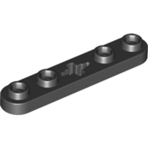Technic, Plate 1x5 with Smooth Ends, 4 Studs and Centre Axle Hole (Black)