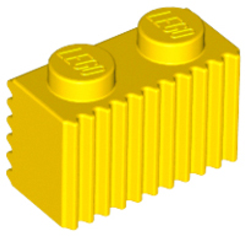 Brick, Modified 1x2 with Grille (Flutes) (Yellow)