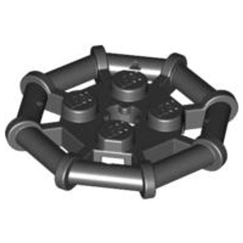 Plate, Modified 2x2 with Bar Frame Octagonal (Black)