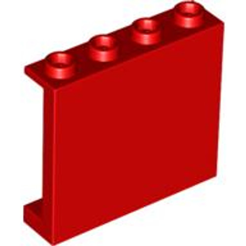 Panel 1x4x3 with Side Supports - Hollow Studs (Red)
