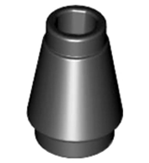 Cone 1x1 with Top Groove (Black)
