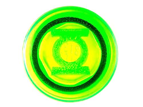 Tile, Round 1x1 with Black Circle and Bright Green Lantern Logo Pattern (Trans-Light Green)