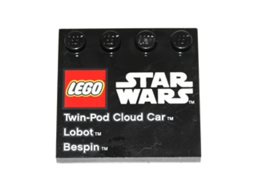 Tile, Modified 4x4 with Studs on Edge with LEGO Star Wars Logo and 'Twin-Pod Cloud Car Lobot Bespin' Pattern (Black)