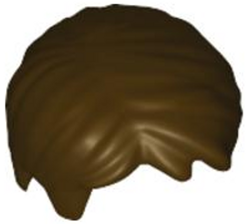 Minifigure, Hair Short Tousled with Side Part (Dark Brown)