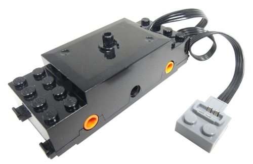 Electric, Train Motor 9V RC Train with Integrated PF Attachment, Orange Wheel Holders (Black)