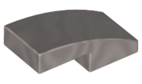Slope, Curved 2x1 No Studs (Flat Silver)