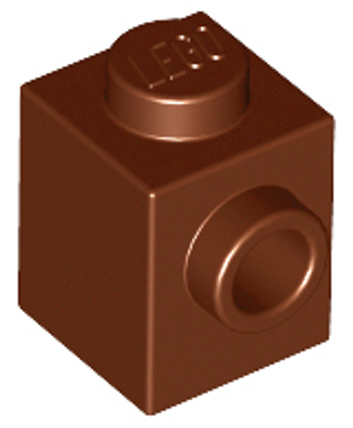 Brick, Modified 1x1 with Stud on 1 Side (Reddish Brown)