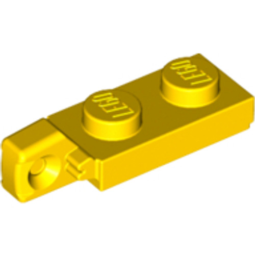 Hinge Plate 1x2 Locking with 1 Finger On End without Bottom Groove (Yellow)