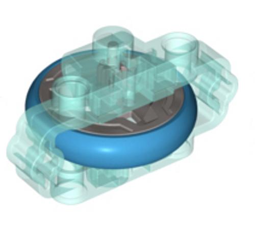 Technic Brick 3x6x2 with Metal Flywheel (Chima Rip Cord Base) (Trans Light Blue)