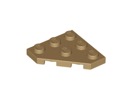 Wedge, Plate 3x3 Cut Corner (Dark Tan)