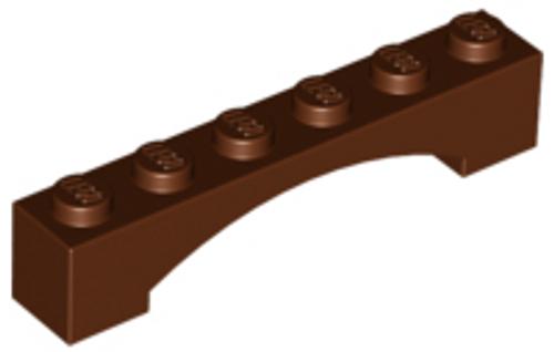 Brick, Arch 1x6 Raised Arch (Reddish Brown)