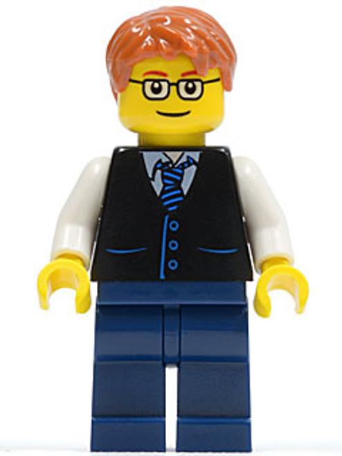 Male, Black Vest with Blue Striped Tie, Dark Blue Legs, White Arms, Dark Orange Short Tousled Hair, Rectangular Glasses (twn211)