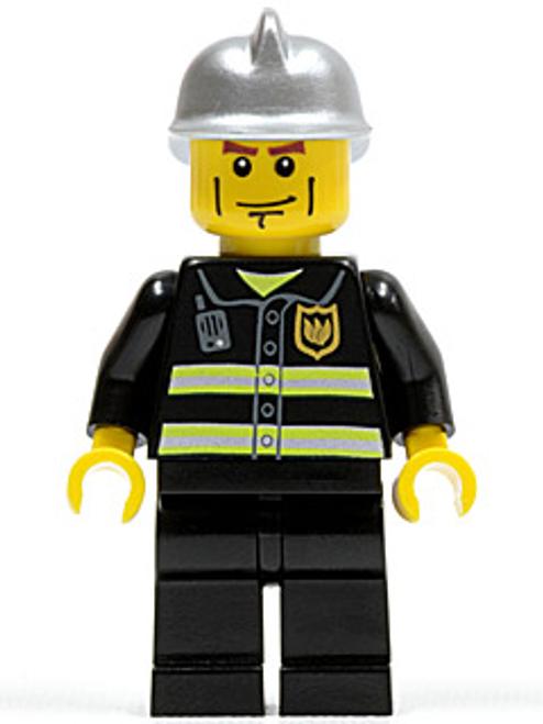 Fire - Reflective Stripes, Black Legs, Silver Fire Helmet, Cheek Lines (twn175)