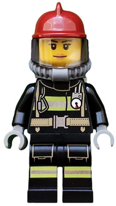 Fire - Reflective Stripes with Utility Belt, Dark Red Fire Helmet, Breathing Neck Gear with Airtanks, Peach Lips Smile (cty0525)