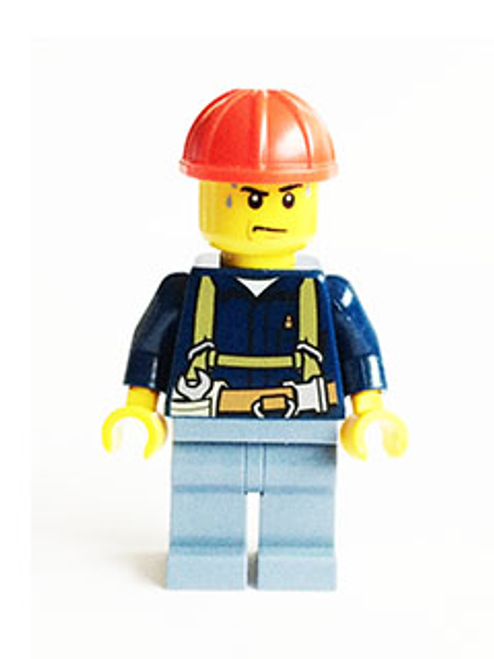 Construction Worker - Shirt with Harness and Wrench, Sand Blue Legs, Red Construction Helmet, Sweat Drops (cty0530)