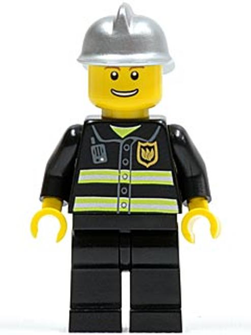 Fire - Reflective Stripes, Black Legs, Silver Fire Helmet, Thin Grin (cty0173)
