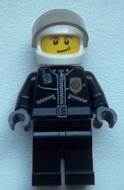 Police - City Leather Jacket with Gold Badge and 'POLICE' on Back, White Helmet (cty0393)