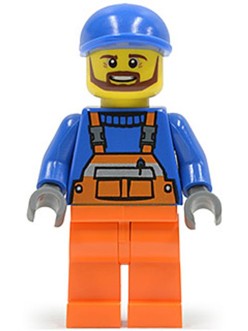 Overalls with Safety Stripe Orange, Orange Legs, Blue Short Bill Cap, Brown Beard (cty0459)