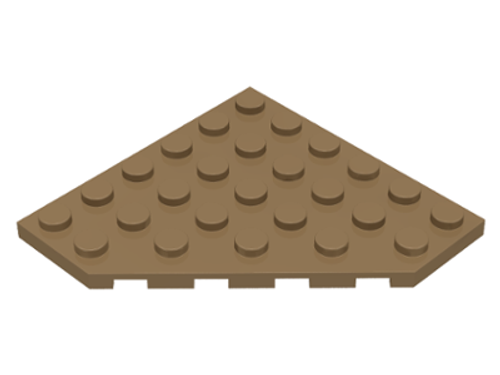 Wedge, Plate 6x6 Cut Corner (Dark Tan)
