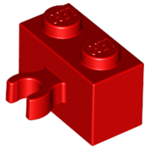 Brick, Modified 1x2 with Vertical Clip (thick open O clip) (Red)
