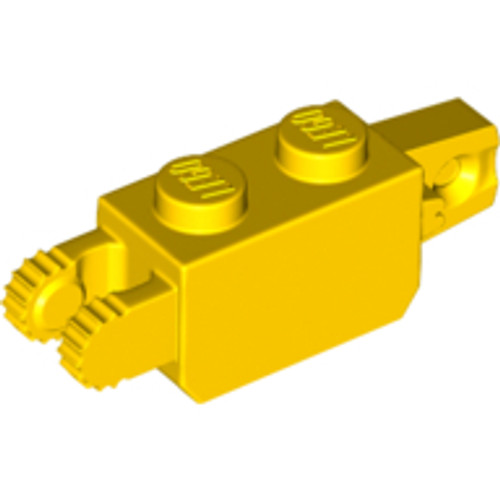 Hinge Brick 1x2 Locking with 1 Finger Vertical End and 2 Fingers Vertical End (Yellow)