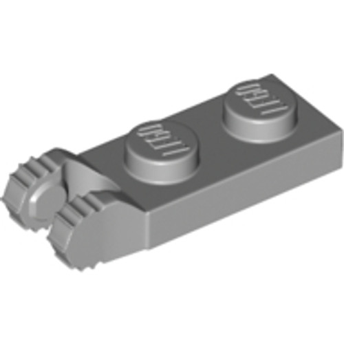 Hinge Plate 1x2 Locking with 2 Fingers on End and 7 Teeth without Bottom Groove  (Light Bluish Gray)