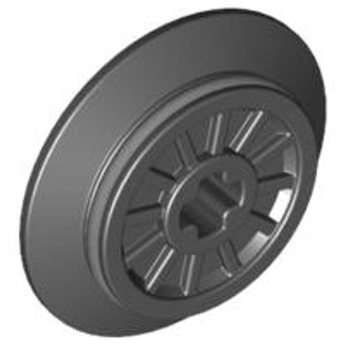 Train Wheel RC Train, Spoked with Technic Axle Hole and Rubber Friction Band (Black)