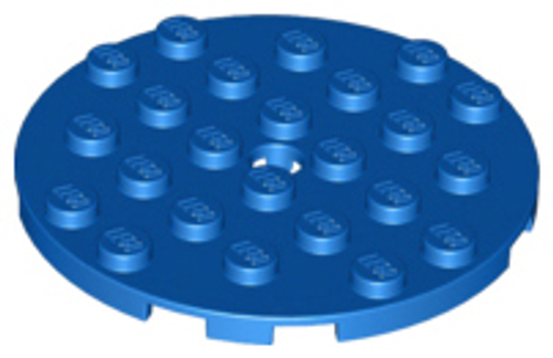 Plate, Round 6x6 with Hole (Blue)