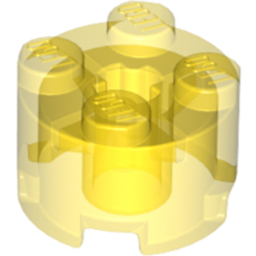 Brick, Round 2x2 with Axle Hole (Trans Yellow)