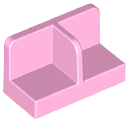 Panel 1x2x1 with Rounded Corners and Centre Divider (Bright Pink)