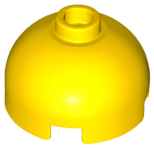 Brick, Round 2x2 Dome Top - Hollow Stud with Bottom Axle Holder (Yellow)