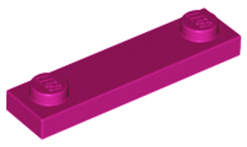 Plate, Modified 1x4 with 2 Studs Without Groove (Magenta)