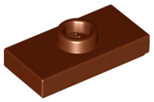 Plate, Modified 1x2 with 1 Stud with Groove and Bottom Stud Holder (Reddish Brown)